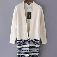 Tribal Pattern Striped V-Neck Long Sleeve Knitted Cardigan
