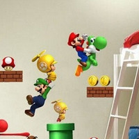 Super Mario Bros Cartoon Removable Wall Stickers for Kids Baby Rooms Decoration Adesivo De Parede Home Decor Art Decals Poster = 1946797060