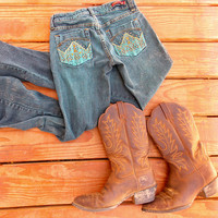 Turquoise Tint Dyed Denim Jeans - Lace Decor on Back Pockets - Studs and Rhinestones - Size 1 -Country Style Clothing - Cute w Cowboy Boots