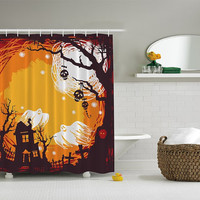 "Shower Curtain-Halloween Spooky Night Themed For Fall Bathroom Curtain Digital Printed 69"" X 70"" #6014"