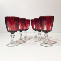 Set of 6 Ruby Glass Cordials, Small Liqueur Stemware Arcoroc White Stem Crystal D'Arques, Durand Ruby Red French Glasses, Shot Glasses