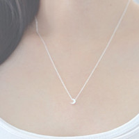 Tiny Moon Necklace, Silver Moon Necklace, Moon Necklace, Small Moon Necklace, Dainty Moon Necklace, Sterling Silver Necklace