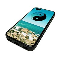 For Apple Iphone 5 or 5s Cute Phone Cases for Girls Yin Yang Beach Surf PEace Design Cover Skin Black Rubber Silicone Teen Gift Vintage Hipster Fashion Design Art Print Cell Phone Accessories