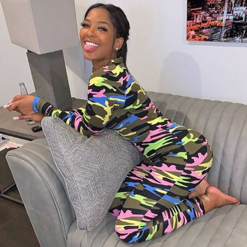 Women Sexy Multi-Color Camouflage Long Sleeve Button Up Jumpsuit