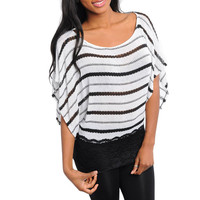 Light Knit Sweater Top with Lace Hem in White & Black