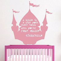 Cinderella Wall Decal Girl Quotes a Dream Is a Wish Your Heart Makes When You're Fast Asleep Disney Vinil Sticker Kids Nursery Home Bedroom Decor Ds348