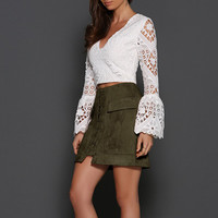 Fashion  Casual Suede Skirt