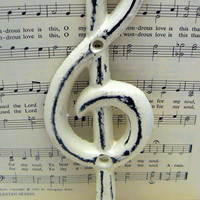 Treble Clef Music Note Hook Cast Iron Musical Symbol Shabby Style Chic OFF White Towel Coat Jewelry Keys Pet Leash Rustic Woodland Wall Hook