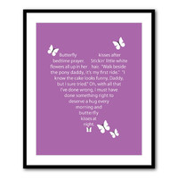 Nursery Inspirational Wall Art - Butterfly Kisses Song Lyrics - Kids Art Teen Tween - Word Art - 8 x 10 or larger Print - Bedroom Art