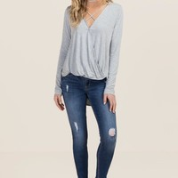 Laurie Bamboo Knit Surplus X Neck Top