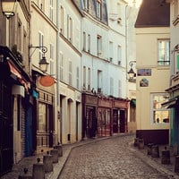Rue Norvins, Montmartre, Paris Photography, Morning, Spring, Pastel, Blue, Yellow, Cobblestone Street - After, The Morning