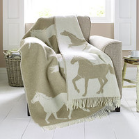 Horse Patterned Lambswool Blanket
