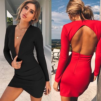 Simple Fashion Solid Color Bodycon Backless Deep V-Neck Mini Dress