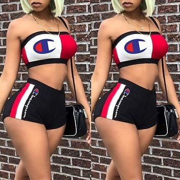 Champion Hot Sale Woman Sexy Print Sleeveless Strapless Top Shorts Set Two Piece Sportswear