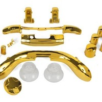 Gold Chrome ABXY/Guide Buttons, Thumbsticks, D-Pad, Triggers, RB LB, Sync button, Start/Back Buttons, Kit for Xbox 360 Controller (16 piece mod kit)