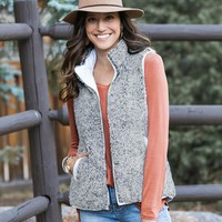 Reversible Wubby Puffer Vest in Grey and White