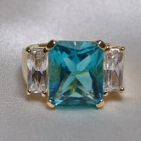 Vintage 11 Carat,  3 Stone Radiant Cut Apatite and Eco Friendly Diamond CZ Ring, 18k Yellow Gold Vermeil