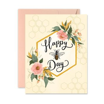 Happy Bee-Day - A2 Note Card