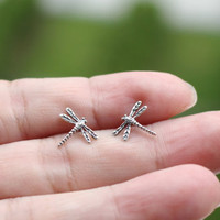 Tiny Sterling Silver Dragonfly stud, Dragonfly earring - Dragonflies stud earring, Dragonfly stud earring, Cartilage, Helix,Children Earring