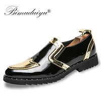 Men Dress Shoes Moccasin Glitter Men Formal Shoes Leather Luxury Fashion Groom Wedding Oxford Shoes