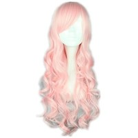 COSPLAZA Cosplay Wigs 70cm Light Pink Long Wavy Curly Japanese Harajuku lolita Anime Show Party Hair