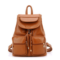 Fashion School New Multi-pocket Leather Backpack