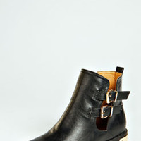 Poppy Cut Out Boot With Plaque Heel