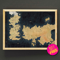 The Known World Map Print Game of Thrones Map Art Print Poster Housewear Wall Art Decor Gift Linen Print - Buy 2 Get FREE - 408s2g