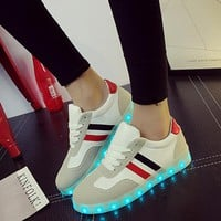 KRIATIV  NEW Fashion USB lighted shoes for boy&girl kids led light up shoes infant luminous sneakers casual glowing sneakers