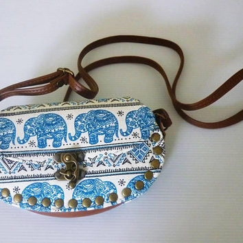 Elephant shoulder bag Small clutch wide 18.5 cm.Blue white tribal fabric fake PU leather wallet,  Crossbody wallet Oval bag