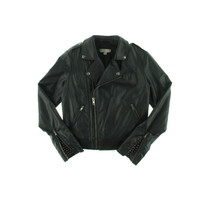 Guess Womens Faux Leather Studded Motorcycle Jacket