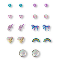 Girls Unicorn Rainbow Earrings 9-Pack | The Children's Place