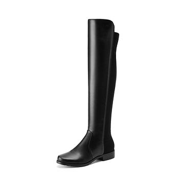 Pactwork Pu Leather Suede Tall Boots Winter Shoes for Woman 2411