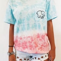 Womens Gradient Tie-dyed Elephant T-Shirts Gift