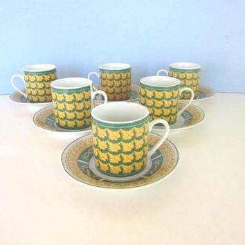 Golden yellow & green leaf pattern vintage china demitasse cups and saucers - set of 6 - S.G.C. Imports - coffee cups - espresso cups