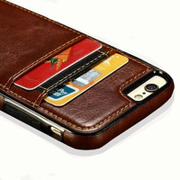Luxury Leather Silicone Card Holder Credit Card Cases For iPhone 6 6s Plus SE 5s Shockproof Protective Phone Cases Covers