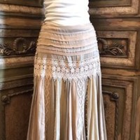 Gold Champagne Crochet Lace Overlay Maxi Skirt SZ L Vintage style