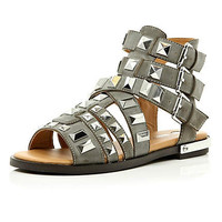 Grey studded Gladiator sandals