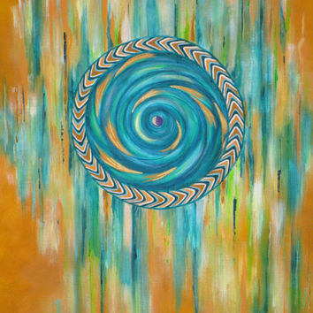 Tribal Tones Original Abstract Painting on Quality Canvas Chevron Circle Aqua, Blues, Bronze, Green, Yellow Ochre, Gold Signed Art by Artist