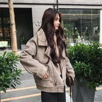 New Lamb Wool Leather Coat Women Thicken Suede Fur Coats Female Winter Casual Slim Thin Warm Zipper Army Green Jacket A5041