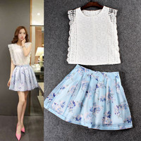 Casual Lace Embroidered Butterfly Sleeve Top With Floral Pleated Mini Skirt