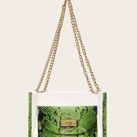 Snakeskin Pattern Clear Bag With Inner Pouch