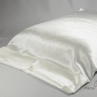 Silk charmeuse pillowcases, ivory, cream, white, no dye, luxurious, hypoallergenic bedding for hair care, facial care, sensitive skin, pc1