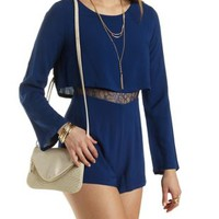 Lace-Waist Layered Long Sleeve Romper - Blue Depths