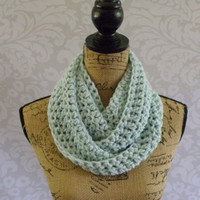 Ready To Ship Infinity Scarf Crochet Knit Glacier Ice Blue Women's Accessories Eternity Fall Winter