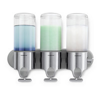 simplehuman Triple Wall Mounted Shampoo and Soap Dispenser