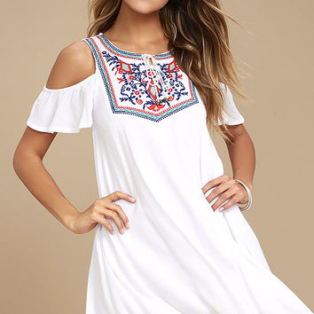 Others Follow Wild Field White Embroidered Swing Dress