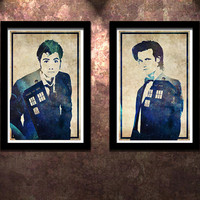 Doctor Who 2 Pack 10 vs 11 Original Limited Edition Art Print Poster David Tennant and Matt Smith