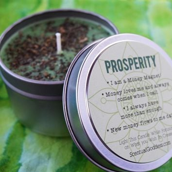PROSPERITY Intention Candle - Focus on Attracting Money & Abundance - Law of Attraction