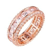 Princess Cut Eternity Ring Wedding Cubic Zirconia Rose Gold On Sterling Silver